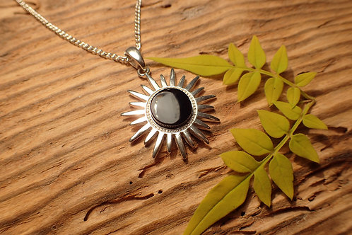 Sterling Silver and Whitby Jet Sun Pendant