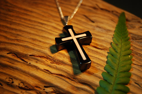 Whitby Jet and Mammoth Ivory Cross