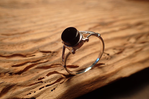 Womens Silver and Whitby Jet Ring