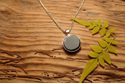 Whitby Jet Round Pendant in Silver mount