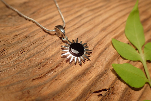 Sterling Silver and Whitby Jet Pendant