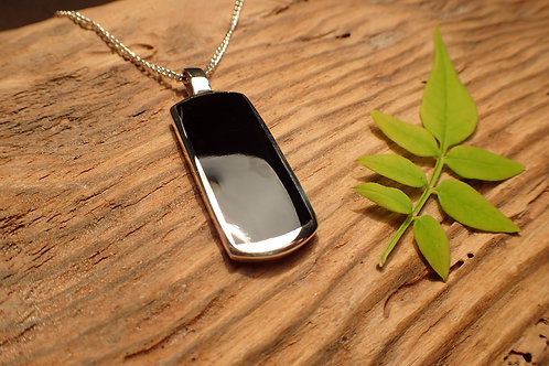 Solid Silver and Whitby Jet Pendant