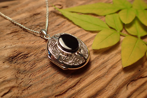 Whitby Jet and Sterling Silver Locket
