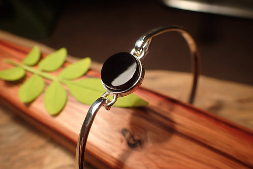 Sterling Silver and Whitby Jet Bangle