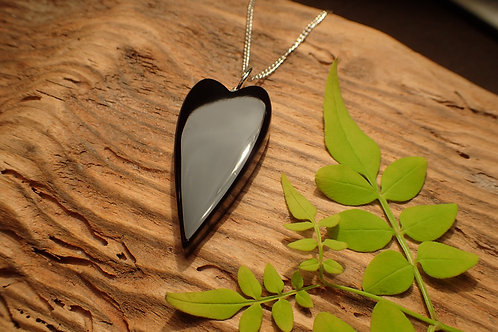 Elongated Whitby Jet Heart Pendant