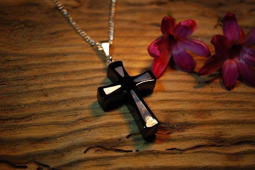 Whitby Jet and Mother of Pearl Cross Pendant