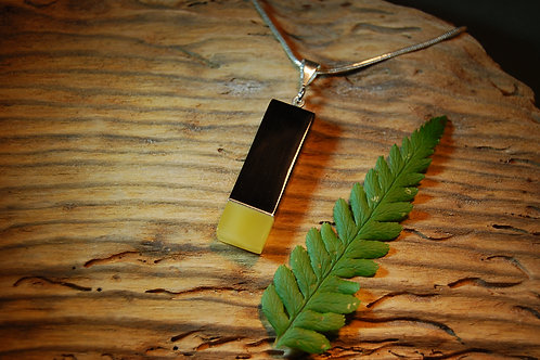Whitby Jet and Honey Amber Pendant
