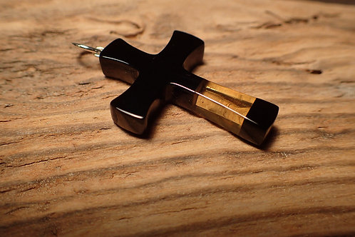 Whitby Jet and Amber Cross Pendant