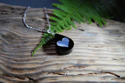 Womens Whitby Jet and Mother of Pearl Pendant