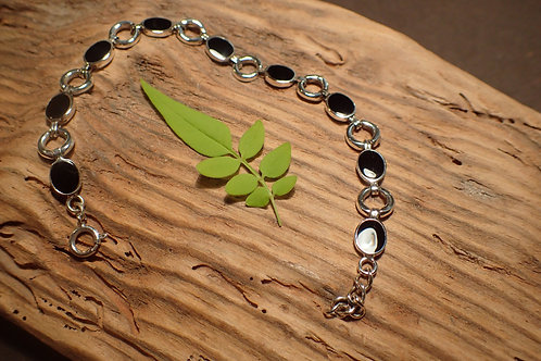 Silver and Whitby Jet Bracelet