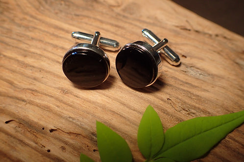 Whitby Jet and Silver Cufflinks