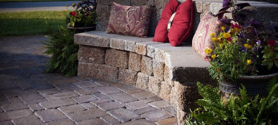 paver stone bench