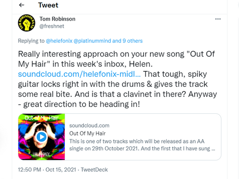 Tom Robinson tweeted me about my track!!