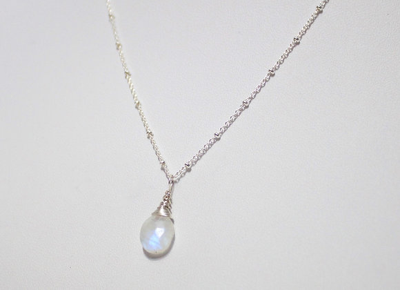 Moonstone Drop Sterling Silver Necklace