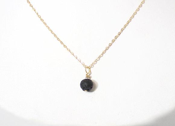 Lava Dangle Brass Necklace