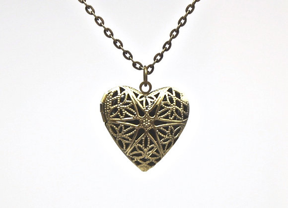 Antiqued Gold Heart Diffuser Necklace