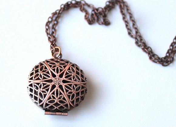 Antiqued Copper Diffuser Necklace