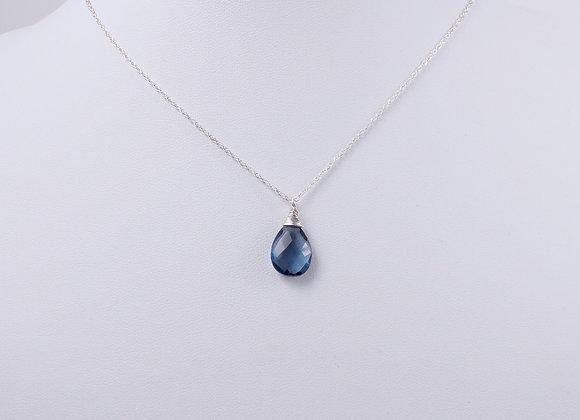 Sapphire Blue Quartz Wire-wrapped Pendant