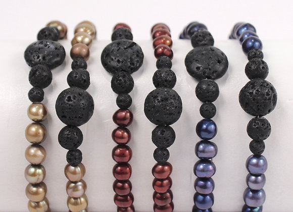 Freshwater Pearl Lava Bracelets