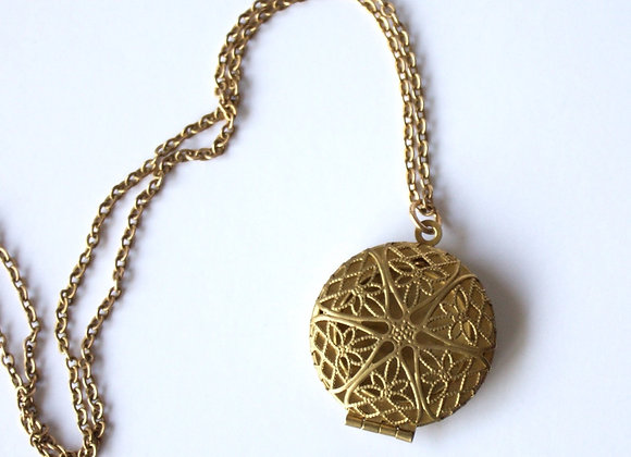 Gold Raw Brass Diffuser Necklace