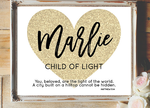 Gold Glitter Heart and Script Name Art
