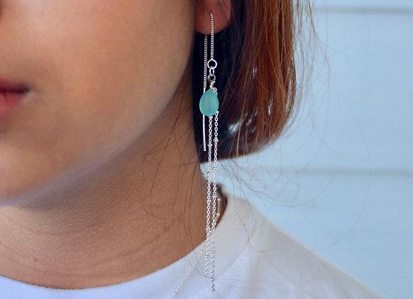Unicorn Tears Earrings (Chalcedony & Sterling Silver)
