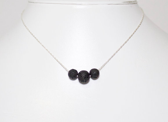 Minimalist Floating Lava Trio Necklace