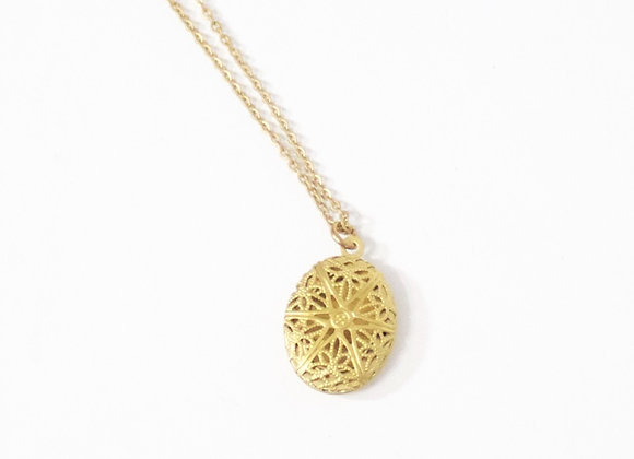 Mini Oval Gold Raw Brass Diffuser Necklace