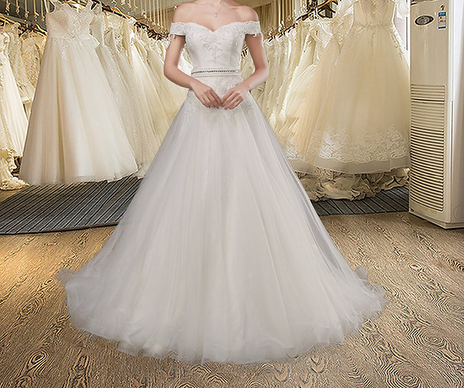 Princess Organza Lace Short Sleeves Off Shoulder Backless Long Wedding Dress