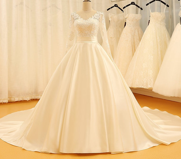 Backless V Neck Illusion Full Sleeve Satin Lace Wedding Dress