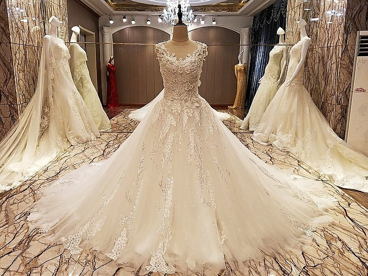 Elegant lace wedding dress ball gown