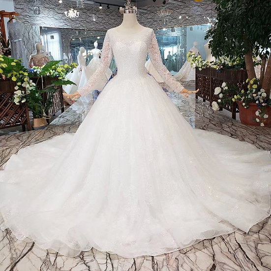 Heavy handmade wedding dresses with long sleeves o-neck corset wedding gown