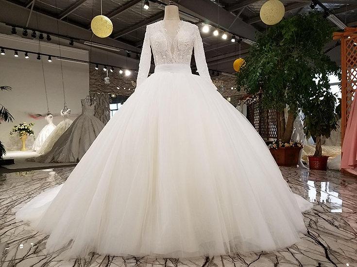 Bridal gown v-neck lace fashion flower pattern beaded elegant long sleeve