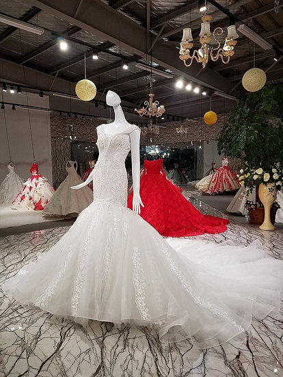 Mermaid ivory wedding dresses cap sleeve v neck lace up back wedding dress