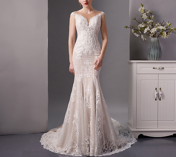 Champagne Lace Mermaid Wedding Dresses
