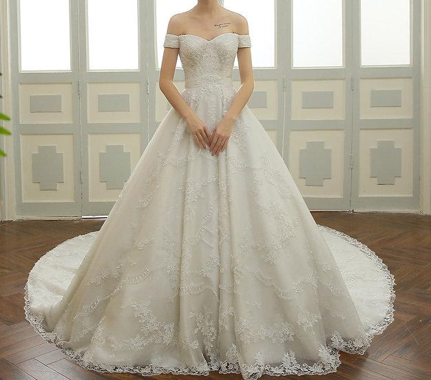 Beaded Lace Long Train Bridal Wedding Dress