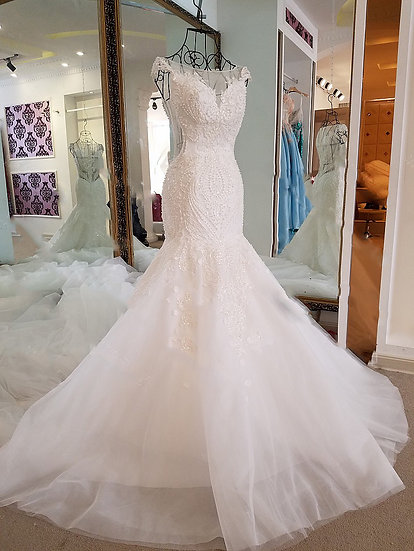 Mermaid wedding dress see through back cap sleeves tulle lace wedding gown