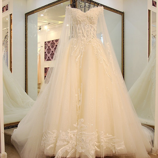 Long Cape Rhinestones Luxury Wedding Dress