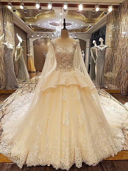 Luxury wedding dress lace ball gown corset back