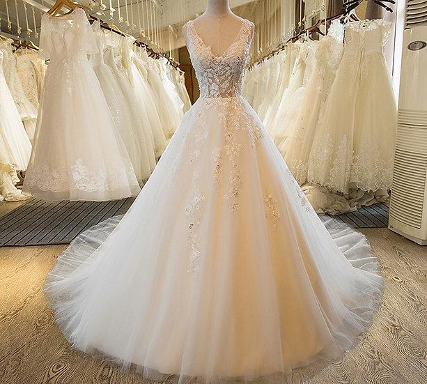 V-Neck Beach Wedding Gowns