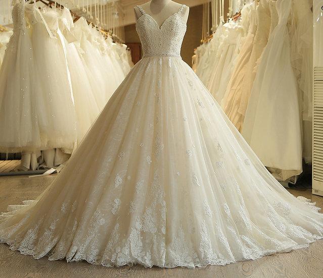 Sweetheart Applique Lace Vintage Pearls Bridal Wedding Dress