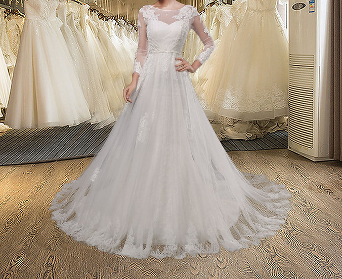 Full Sleeves Detachable Train Lace Mermaid Wedding Dress