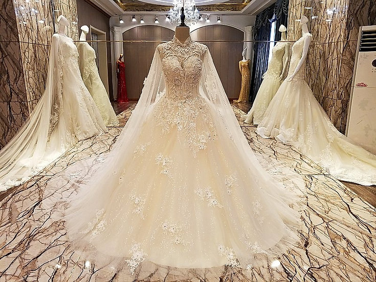 Elegant lace crystal wedding gowns
