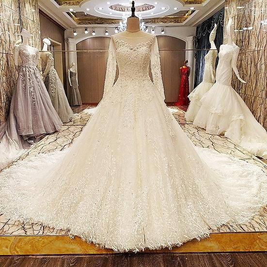 Long sleeve wedding dress ball gown
