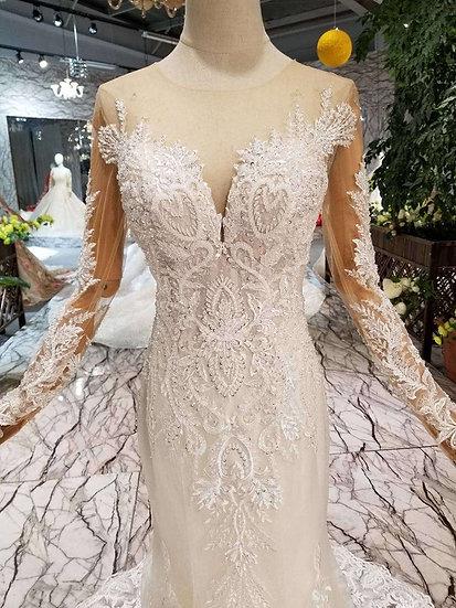 Handmade crystal long trumpet wedding gown
