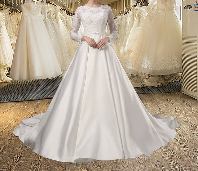 vestido de noiva Beading Full sleeves Princess Wedding Dress
