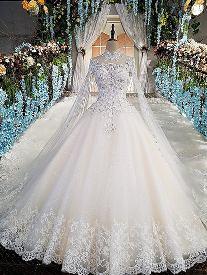 Luxury wedding gowns with cape beaded ball gown short sleeves