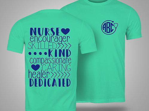Nurse Custom Monogram T-shirt