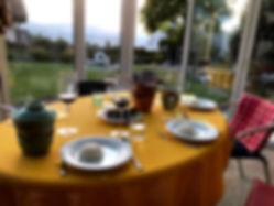Gästetisch in unserem Wintergarten