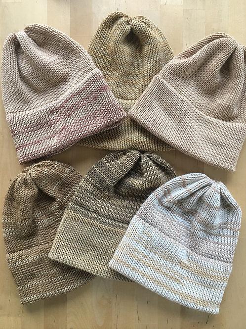 Pink and Cream mix  Zero Waste Handmade merino beanie hat